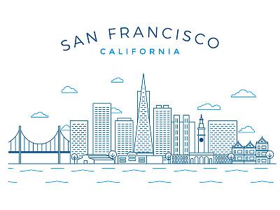 San Francisco skyline california skyline stroke tech silicon valley sanfran san francisco