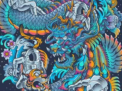 New Space Found bogielicious threadless illustration tattoo irezumi dragon mythology