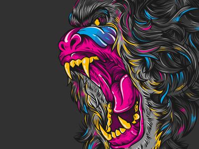 Mandrilla DBH beastmode ape mandrill illustration artcontest teesdesign alloverprint designbyhumans dbhtees vector