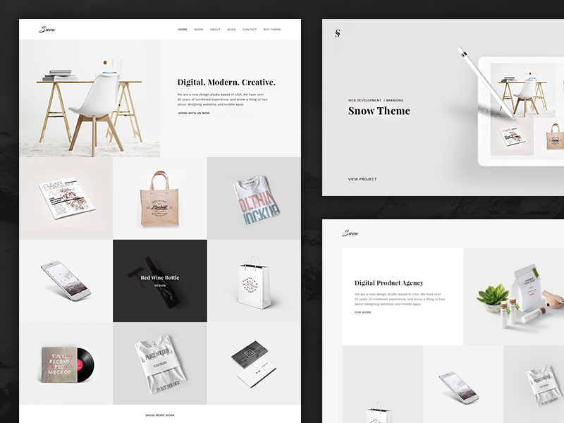 Free PSD / Snow - Minimal & Clean Portfolio template html free psd studio agency gallery portfolio