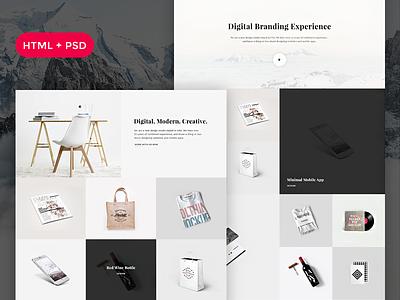 'Snow' Free HTML + PSD Portfolio agency gallery clean minimal free psd free html freebie portfolio
