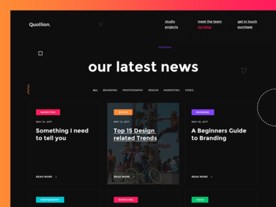 Quollion - Creative Blog business agency dark psd portfolio article blog website web design creative