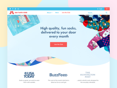 Homepage Design for Say it with a sock startup website ux colors design psd home page landing page