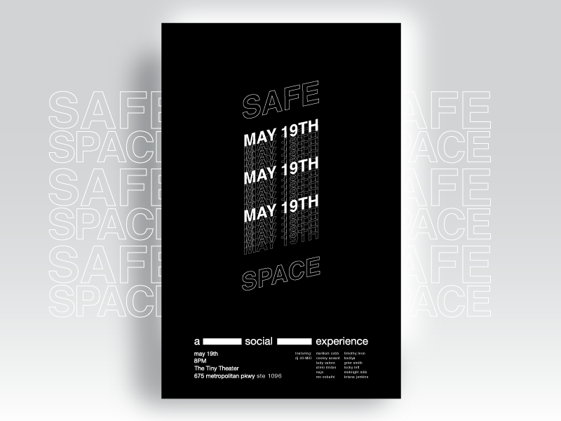 Safe Space Poster Series / #1 elev8ed helvetica type atlanta music vector design inspiration posters black and white color palette poster