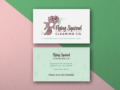 Cleaning Company Business Cards business cards logo squirrel illustration
