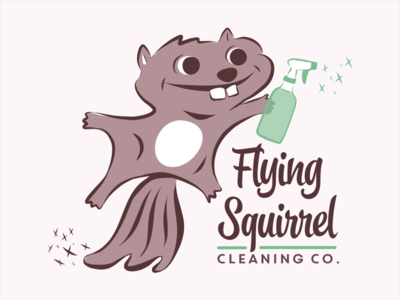 Flying Squirrel Cleaning Co. Logo squirrel cleaning illustration logo