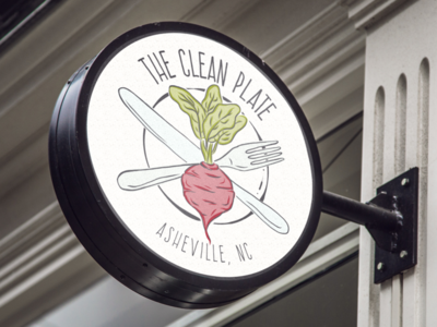 The Clean Plate Signage signage beet organic restaurant illustration logo