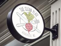 The Clean Plate Signage signage beet organic restaurant illustration logo