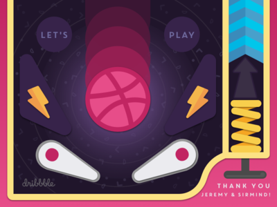 Let's Play!!! arcade pinball sketch app debut illustration