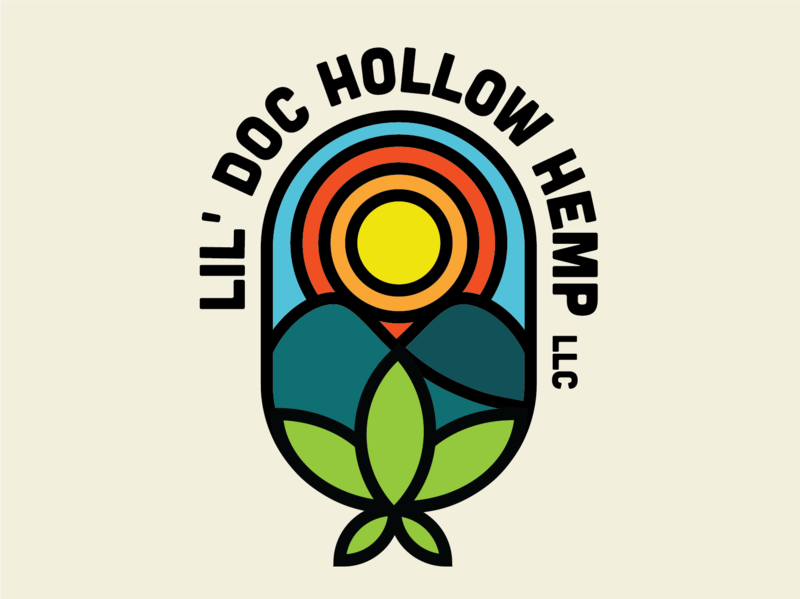 Lil' Doc Hollow Hemp Logo illustrator farm hemp thicklines logo