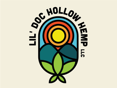 Lil' Doc Hollow Hemp Logo illustrator farm hemp thicklines logo