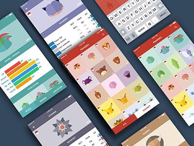 Pokédex App minimalistic pokemon pokedex interface app uiux
