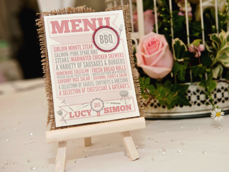 Wedding BBQ Menu type typography print card stationery wedding invitation hessian