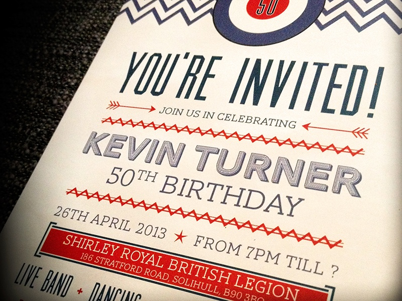 You're Invited! invitation birthday happy birthday typography card print retro mod lambretta 50th birthday