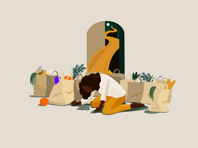 PrimeNow humor social steps sad character food groceries prime now amazon illustration
