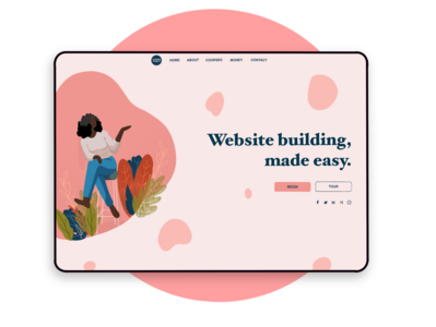 Home Page public speaking branding ui webpage button character social illustration