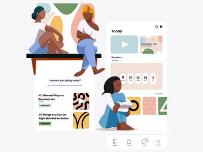 Miscellaneous Illustrations - Therapy App social ui app character design illustration
