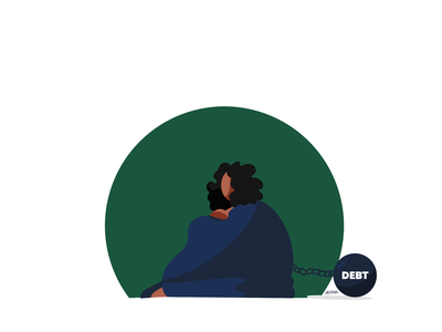 Cause there ain't no debt on me! design vector social character illustration finance debt