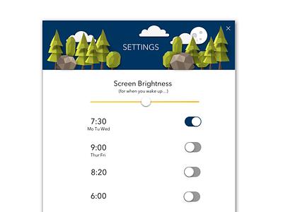 DailyUI - #day07 Settings UI yellow green blue moon sun day night design flat ui settings