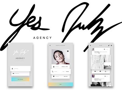 YJ - Blog/Shop Mobile App Concept  minimal design photography art yesjulz agency login mobile shopping blog