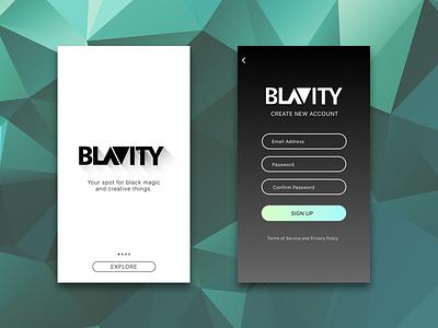 B - Mobile Blog Concept minimal concept blog ui sign up white black explore login design mobile