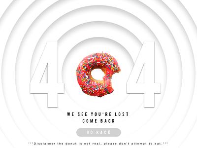404 Error Page - Design Challenge back exit button pink donut ux ui web page error 404 design