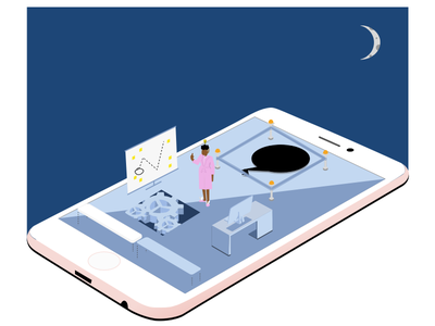 Work Ethic gears perspective iphone moon sun blue design day night