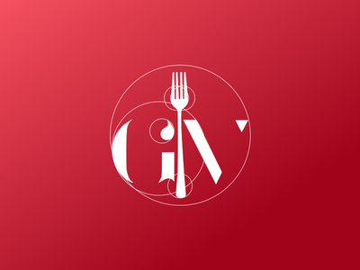 GV Design Concept design logo fork red food chef