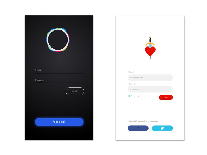 Login Screen Concept design heart black login concept