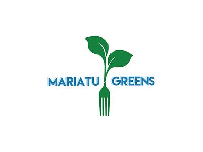 Mariatu Greens branding chef leaf food fork font green blue logo