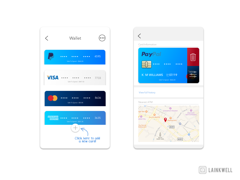 Dailyui002 - Credit Card dailyui002 gradients blue symbols ui app map chip visa credit card design