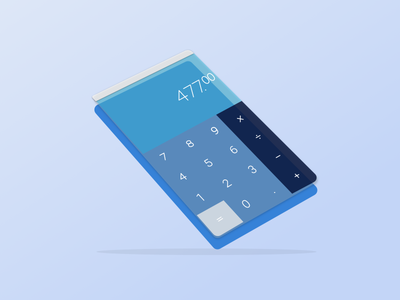 DailyUI004 - Calculator dailyui004 challenge angle perspective blue design calculator