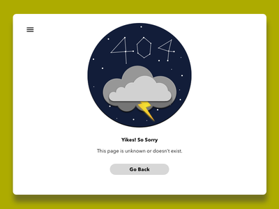 404error - 6 hamburger menu buttons weather clouds stars ui design webpage error 404 adab00