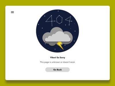 404error - 6 hamburger menu buttons weather clouds stars ui design webpage error 404 adab00