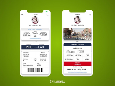 Ticket concept green profile transportation airport tickets
