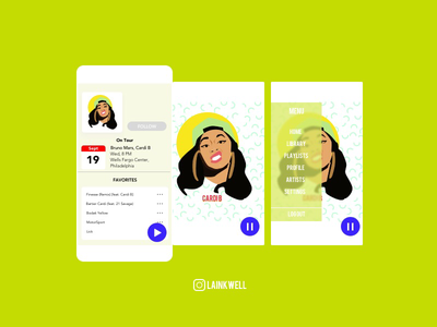 Music Player concept design bruno mars finesse music player cardib
