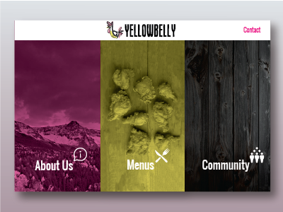 Yellowbelly Homepage Redesign triptych yellowbelly food restaurant website website design mountains chicken restaurant design web design