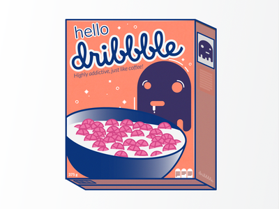 Hello Dribbble! breakfast dribbble debut flat vector design illustration hello cereal box cereal