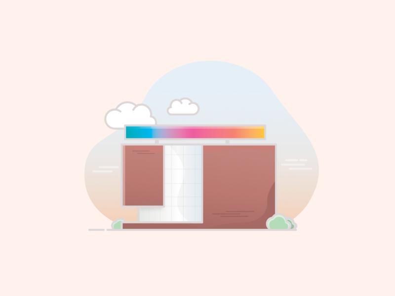 ARoS city building adobe flat rainbow colors visit illustartor denmark aarhus museum of art museum