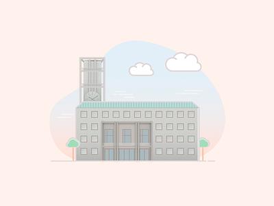Aarhus City Hall turist visit vector flat illustration design denmark city colors building adobe aarhus