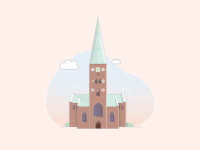 Aarhus Cathedral architechture branding visit vector design colors city flat adobe illustration cathedral building denmark aarhus