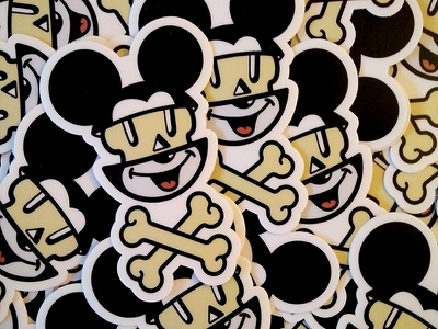 mick bones sticker affinity designer icon flat vector stickermule mickey sticker