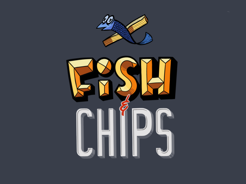 Fish and Chips logo illustration letters fish hand letters lettering procreate ipad cartoon character