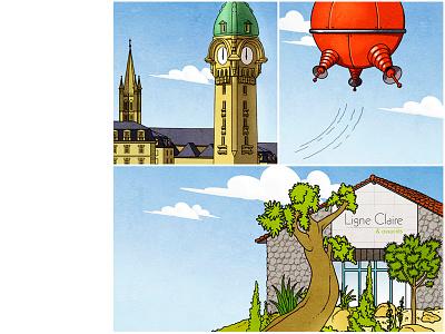 Ligne Claire limoges illustration scene klarelijn ligneclaire