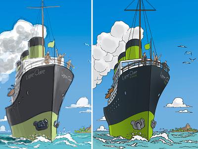 Ligne Claire Cover project [WIP] boat comics scene limoges ligneclaire klarelijn illustration