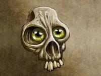 Green eyes skull