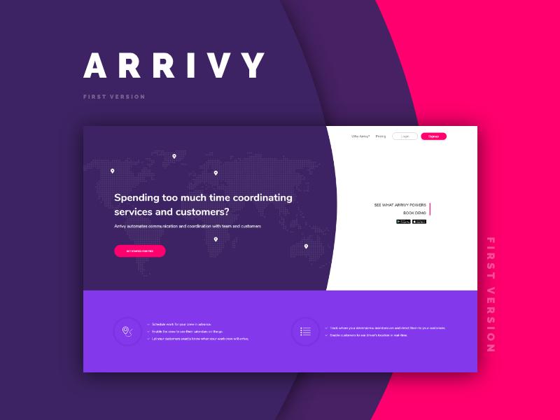 Arrivy Ver.1 interaction design interaction design landingpage redesign startup homepage ui ux