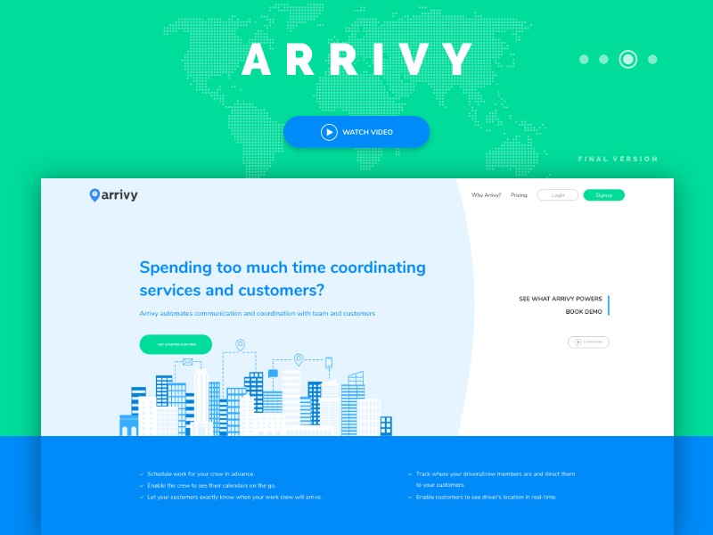 Arrivy final version interaction design user interface user experience startup page landing homepage