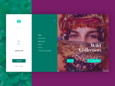 JT eCommerce shop menu homepage web design ux ui jewels ecommerce