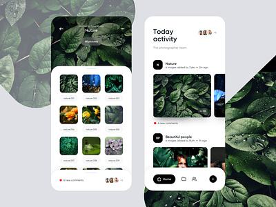 Photographers app images pictures bottom menu bottom nav bottom bar ios folder activity feed activity team photographer photography photos photo